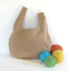 Knitting bag, large project bag, Knitter's gift bag, Tan yarn bag or Knitting tote $38 Ovationstudiobags.etsy.com
