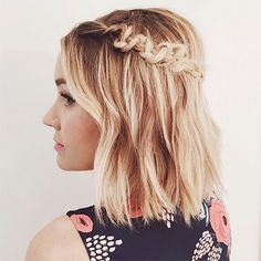 """Macramé, once reserved for that blanket your grandmother made you and your fifth grade friendship bracelet, is now a staple in the braid world. Kristin Ess, hairstylist and cofounder of The Beauty Department, tells us how to achieve the macramé braid (aka """"snake"""" braid) as seen on Lauren Conrad, above."""