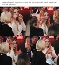 Elizabeth Olsen cried when she met Mark Hamill at Civil War's premiere.  She's too cute for this world.