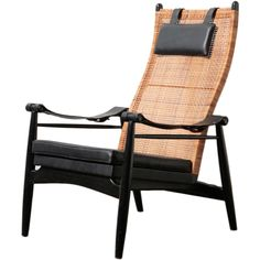 Muttendam Mid-Century Rattan and Leather Armed Lounge Chair