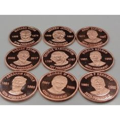 United States Presidents 1 Gram Copper Rounds - Complete Set