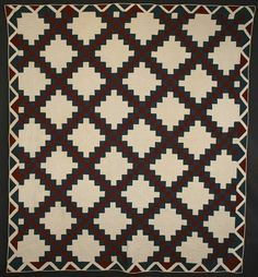 """Irish Chain Quilt: Circa 1880; Virginia      Handsome Irish Chain quilt done in solid fabrics of rich chocolate brown and teal blue. Superb zig zag border; nicely quilted. Unwashed condition. Elkins, Virginia origin (Rockingham County); circa 1880. Measures 81"""" x 88""""."""