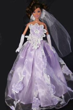 purple wedding dresses | Light Purple Wedding Dress, Handmade to Fit the Barbie Sized Doll