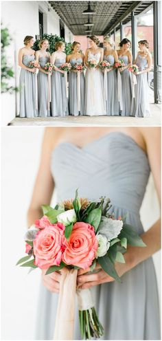 Pretty pink bouquets, strapless light grey bridesmaid dresses, long gowns, wedding fashion // Willett Photography