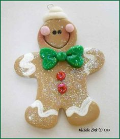 Polymer Clay Gingerbread Man Pendant Charm by michellesclaybeads, $3.00