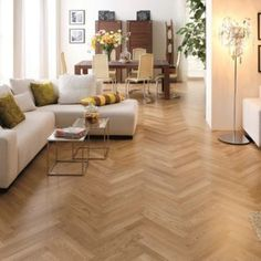 Our Chamonix Glistening Oak 90 x 400 x is a pearl satin lacquered herringbone product in an ABC grade of wood. Luxury Flooring, Basement Apartment, Hardwood Floors, Wood Flooring, Small Rooms, Plank, Living Room, Interior Design