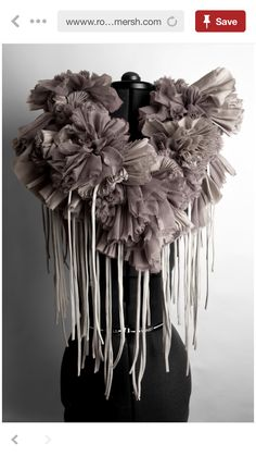 f080145b1ff6 This is a Mauve fabric neckpiece with gathered textures and fringe detail  using fabric manipulation to create a collar. This would work well with the  theme ...