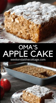 This special recipe for OMA'S APPLE CAKE is simply delicious. It's an old fashioned cake made with chunks of apples, cinnamon, walnuts and just the right amount of grated dark chocolate. Serve it warm for dessert, with coffee, tea or an afternoon snack. Healthy Apple Cake, Moist Apple Cake, Easy Apple Cake, Fresh Apple Cake, Apple Cake Recipes, Easy Cake Recipes, Apple Walnut Cake Recipe, Old Fashioned Apple Cake Recipe, Gluten Free Apple Cake
