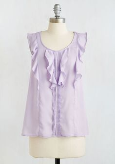 Flutterby And By Top. When you need a go-to look for an important meeting, pull this lovely lilac blouse out from your closet and prepare to shine! #lavender #modcloth