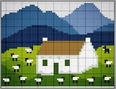 ★chart Moutons et maison Sheep and house Cross Stitch House, Cross Stitch Boards, Cross Stitching, Cross Stitch Embroidery, Cross Stitch Patterns, Blackbird Designs, Cross Stitch Animals, Fair Isle Knitting, Tapestry Crochet