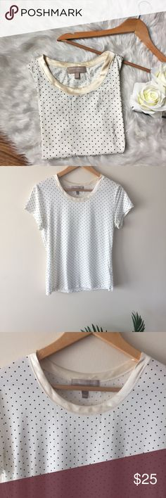 Banana Republic • Polka Dot T-Shirt Banana Repubic Polka Dot T-Shirt   A luxe polka dot t-shirt by Banana Republic with a silky cream collar. Soft material that offers stretch. Flawless condition! Size S. Length: 23 inches Bust: 17 inches flat Banana Republic Tops Tees - Short Sleeve