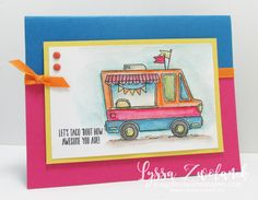"""Tasty Trucks: let's """"taco"""" 'bout how awesome you are! Get this 16-pc set totally free during Sale A Bration 2017 from Song of My Heart Stampers. Makes a taco truck, ice cream van, hot dog cart and more, with seven different hilarious sayings. You've gotta see it!"""