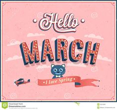 Hello March Images Hello march typographic design