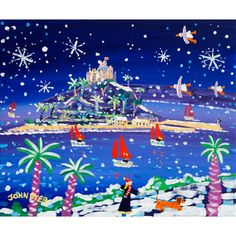 Sailing through the Snow St Michael's Mount by John Dyer. Limited Edition Print. John Dyer, St Michael's Mount, Winter Season, Limited Edition Prints, Cornwall, Aunt, Art Pictures, Beaches, Whimsical