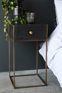 Halcyon Bedside Table With Drawer from Rockett St George Rockett St George Bedside Table Decor, Bedside Table Design, Tall Bedside Tables, Bedside Table Styling, Wooden Bedside Table, Side Tables Bedroom, Box Queen, Cama Box, Bed Table