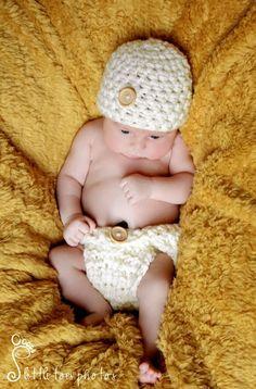 Newborn Natural Diaper And Hat Set