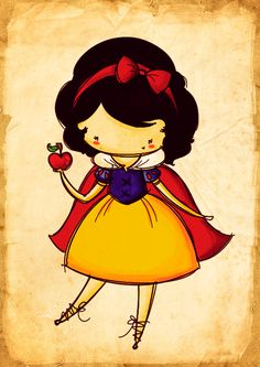 Kawaii Snow White ^^~ so so kute with big head and small short legs ^^~ just… Disney Fan Art, Disney Pixar, Disney E Dreamworks, Disney Amor, Animation Disney, Disney Cartoons, Disney Characters, Chibi Disney, Disney And More