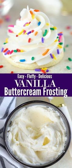 The perfect Vanilla Buttercream. Super easy and always delicious! A topping for cakes, cupcakes, sugar cookies and more.