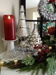 Christmas in silver and red