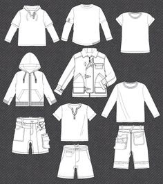 Set of fashion flat sketches for boy
