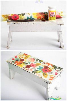 Decorate a Wooden Stool with Paper - Mod Podge Rocks Have a wooden stool that needs a makeover? I revamped an antique wood stool find with pretty paper and Mod Podge. This is a fun DIY project that is really EASY to do! You can use the same method for other furniture such as chairs, coffee tables, and more. via @modpodgerocks<br> Have a wooden stool that needs a makeover? I made this decorative step stool with pretty paper and Mod Podge. It's really EASY to do! Upcycled Crafts, Diy Crafts, Decor Crafts, Wood Crafts, Decoupage Furniture, Diy Furniture, Furniture Cleaning, Furniture Plans, Luxury Furniture