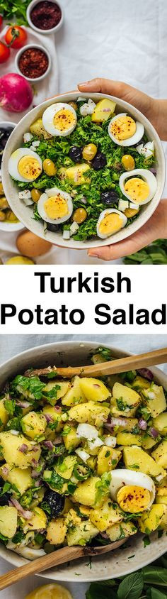 Turkish Potato Salad with herbs and hard-boiled eggs is very light, healthy and refreshing yet so tasty with all the Mediterranean flavors. A little spicy and tangy, this salad is so different from traditional mayonnaise-based potato salads. Perfect for p Potato Salad With Egg, Egg Salad, Hard Boiled, Boiled Eggs, Taco Salad Recipes, Cooking Recipes, Healthy Recipes, Healthy Herbs, Great Recipes