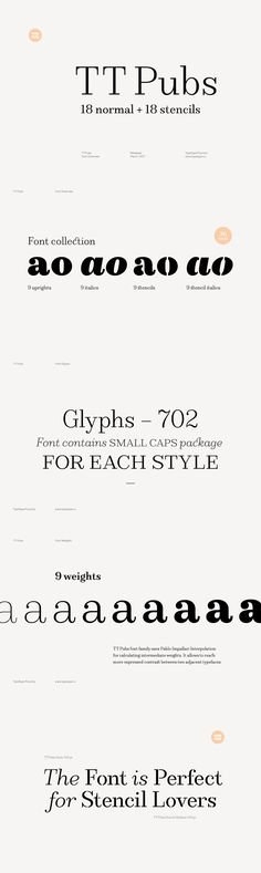 TT Pubs - The TT Pubs font family includes two sub-families: the elegant modern serif and its sophisticated...