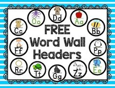 This FREE Alphabet Word Wall Header Pack includes 26 round word wall letter headers (a-z) with black and white polka dot borders and initial sound pictures. ENJOY :)!