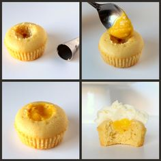 Filling cupcake with lemon curd collage- recipe for Limoncello and Meyer Lemon Cupcakes