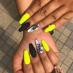 Neon Nails, Swag Nails, My Nails, Neon Nail Art, Neon Yellow Nails, Acrylic Nails Yellow, Orange Nail Art, Coffin Nails Designs Summer, Neon Nail Designs