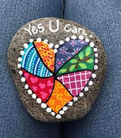 """yes you can"" quilted heart rock Pebble Painting, Dot Painting, Pebble Art, Stone Painting, Heart Painting, Rock Painting Patterns, Rock Painting Ideas Easy, Rock Painting Designs, Rock Crafts"