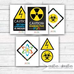 Science Birthday Party Signs, Mad Scientist Decorations, Chemistry Party, Boy's Science Party, Printable Signs, Instant Download by OandD on Etsy
