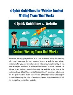 4 Quick Guidelines for Website Content Writing Team That Works #content #contenu