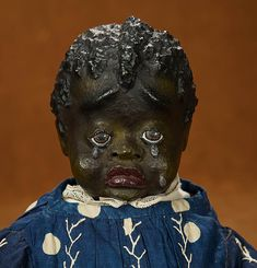 Tears for Mina - March 2018 at the Hyatt Coconut Point, Naples, FL: 88 American Black-Complexioned Paper Mache Child Doll with Tears by Leo Moss Antique Dolls, Vintage Dolls, Feather Stitch, Hairstyles Over 50, Weird Creatures, Creepy Dolls, Child Doll, Collector Dolls, Paper Mache