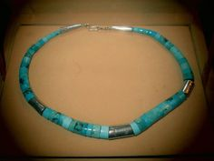 "16"" Native American Turquoise & Sterling Silver Necklace"