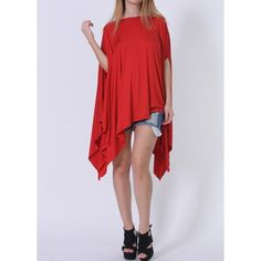 Rotita Red Asymmetrical Oversized T Shirt Dress Tunic Poncho Top (27 CAD) ❤ liked on Polyvore featuring tops, tunics, red, long poncho, asymmetrical tops, long oversized tops, cotton tunics and elbow length tops