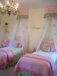 Girls room. Love the canopy over the bed.