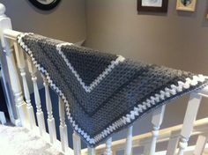 Grey and white crochet giant granny square blanket by thebuttonlily.