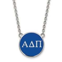 Alpha Delta Pi Split Chain Necklace : Our Alpha Delta Pi Split Chain Necklace features the ADPi symbols on a royal blue enameled disc.