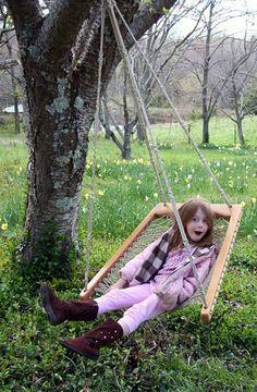 Oak Macrame Woven Hanging Hammock Chair
