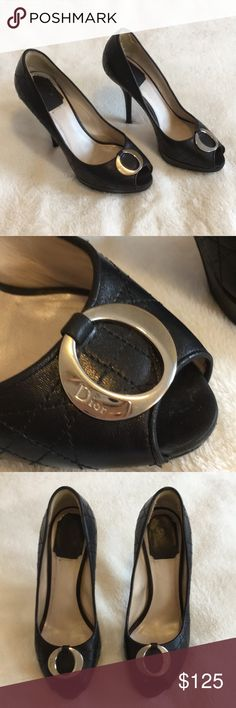 Christian Dior Heels Black, peep-toe 5 inch heels, size 7. Bottoms, and inside of shoe are worn, but the outside looks impeccable! Christian Dior Shoes Heels