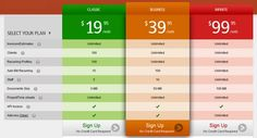 Invoicera pricing table pages Template