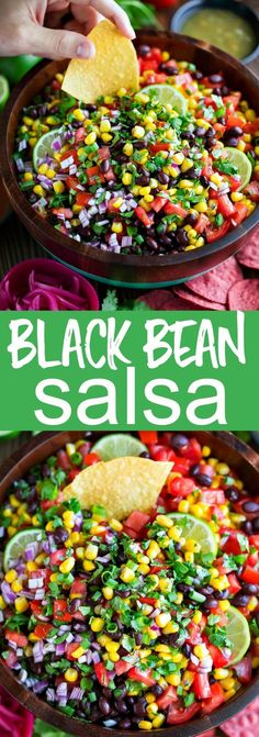 Black Bean Salsa Recipe – Peas and Crayons This Black Bean Salsa is perfect as a dip, taco topper, party appetizer, and even as a taco salad mix-in too! We love the simple ingredients and big flavor. Black Bean Salsa, Black Beans, Black Bean Dip, Appetizers For Party, Appetizer Recipes, Taco Appetizers, Dips Für Chips, Easy Soup Recipes, Cooking Recipes