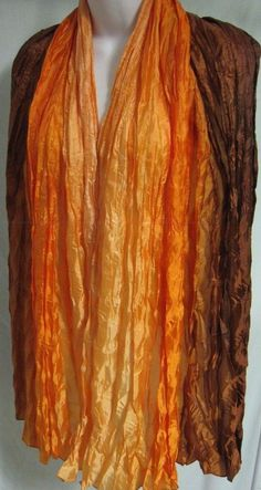 "Avon Crinkle /Pleated Scarf Deep Orange Brown 70"" long Chiffon Style Wrap NWOT #Avon #Scarf"