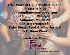Food & Wine Festival in Palm Desert and Fashion Week After Party invitation for March 22, 2014.
