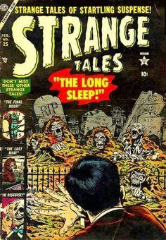 Strange Tales # 25 by Bill Everett Creepy Comics, Horror Comics, Marvel Heroes, Marvel Comics, Comic Book Covers, Comic Books, Marvel Masterworks, Horror Tale, Tales Of Suspense