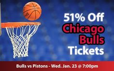 $30 (51% off) Chicago Bulls Tickets vs Detroit Pistons Wed. Jan. 23 @ 7:00pm - Crowd Seats Cheap Sports Tickets