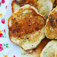 zucchini pancakes w' tomato & basil salad