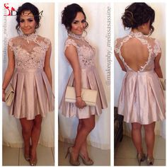 2016 Sexy Lace Party Dresses Backless High Neck Mini Cap Sleeve Prom Cocktail Dress Graduation Homecoming Queen Dress Gowns