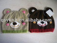 children bear face knitted hat